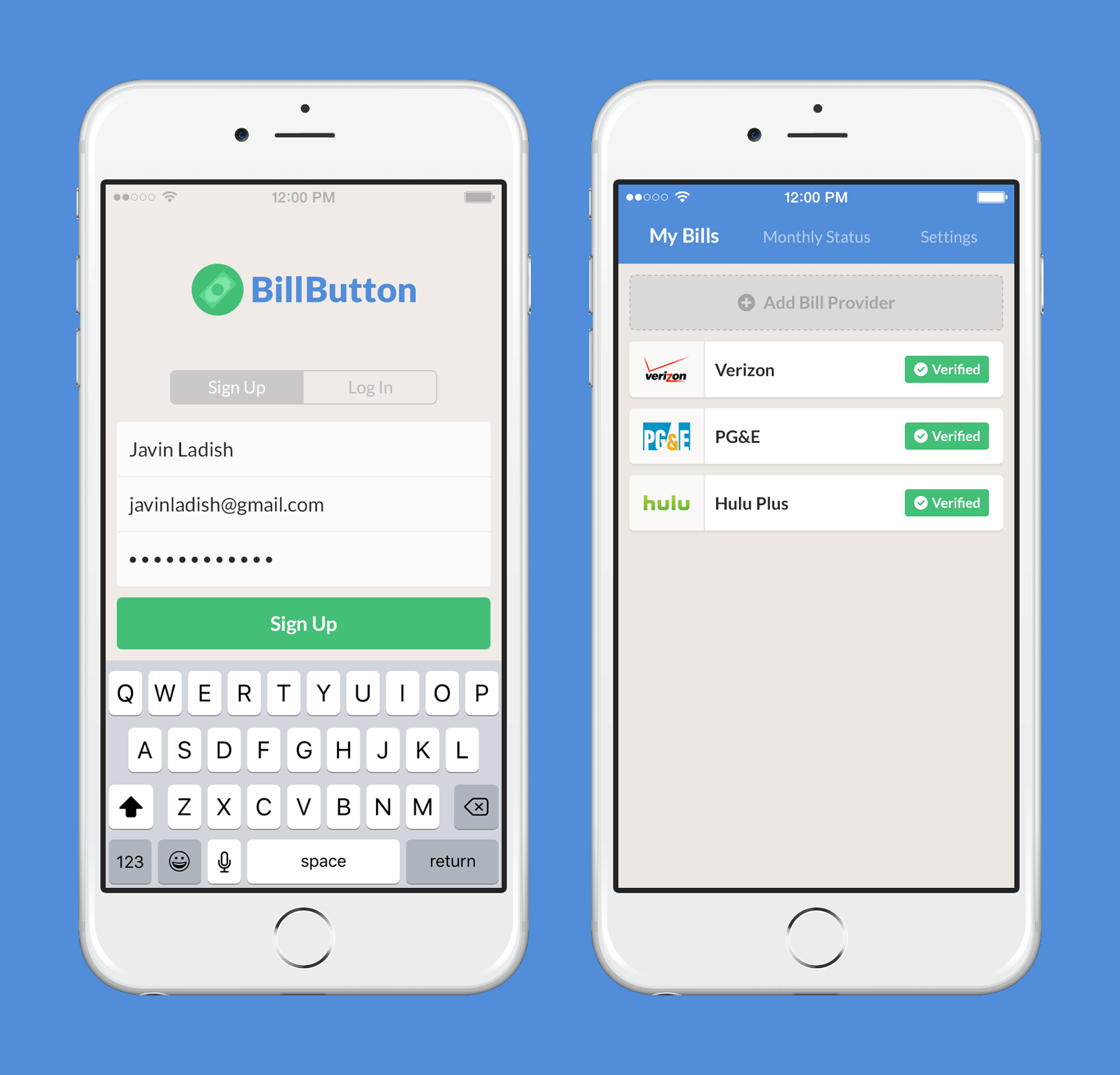 BillButton App Design