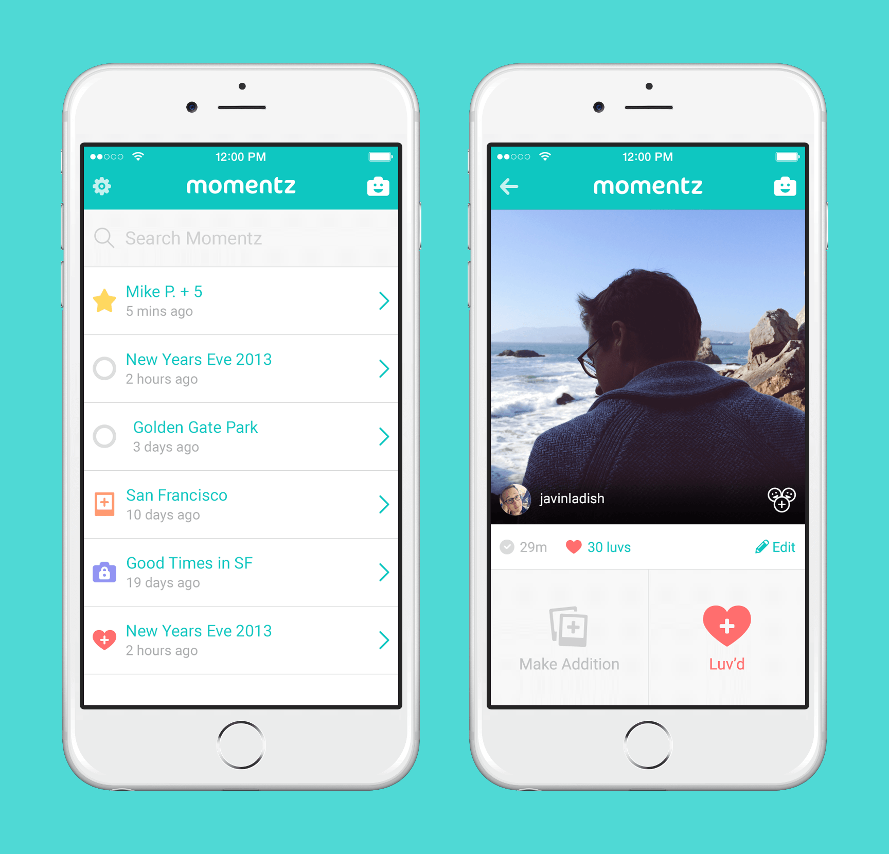 Momentz iOS App Design